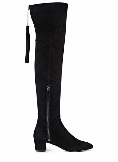 Nine West Kalın Topuklu Uzun Süet Çizme Siyah